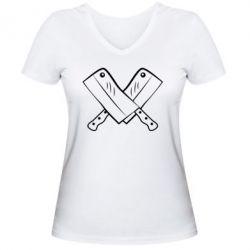 Женская футболка с V-образным вырезом Knives - FatLine