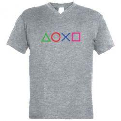 Чоловіча футболка з V-подібним вирізом Кнопки PlayStation