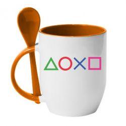 Кружка з керамічною ложкою Кнопки PlayStation
