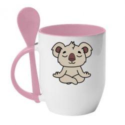 Кружка с керамической ложкой Koala