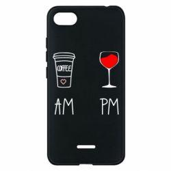 Чехол для Xiaomi Redmi 6A Кофе и бокал с вином