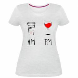 Жіноча стрейчева футболка Кофе и бокал с вином
