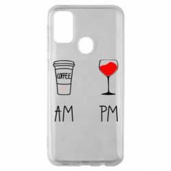 Чохол для Samsung M30s Кофе и бокал с вином