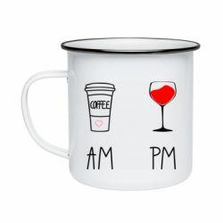 Кружка емальована Кофе и бокал с вином