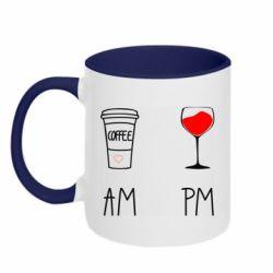 Кружка двоколірна 320ml Кофе и бокал с вином