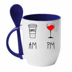 Кружка з керамічною ложкою Кофе и бокал с вином