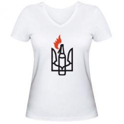 Женская футболка с V-образным вырезом Коктейль Молотова - FatLine