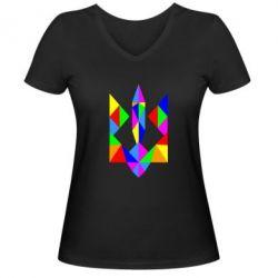 Женская футболка с V-образным вырезом Кольоровий герб