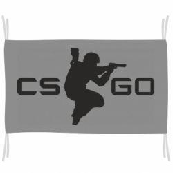 Флаг Контр Страйк, логотип и игрок