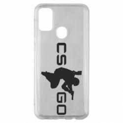 Чехол для Samsung M30s Контр Страйк, логотип и игрок