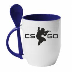 Кружка с керамической ложкой Контр Страйк, логотип и игрок