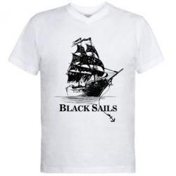 Мужская футболка  с V-образным вырезом Корабль с черными парусами