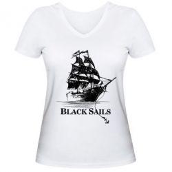 Женская футболка с V-образным вырезом Корабль с черными парусами