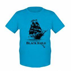 Детская футболка Корабль с черными парусами