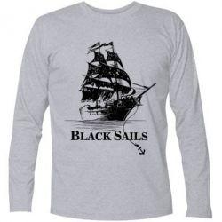 Футболка с длинным рукавом Корабль с черными парусами