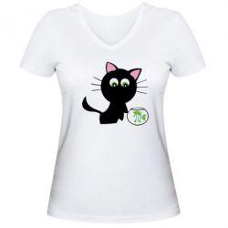Женская футболка с V-образным вырезом Кошечка и аквариум - FatLine