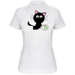 Женская футболка поло Кошечка и аквариум - FatLine