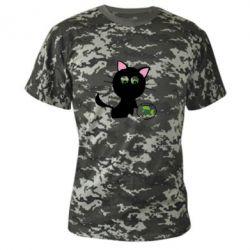 Камуфляжная футболка Кошечка и аквариум - FatLine