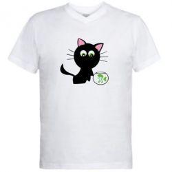 Мужская футболка  с V-образным вырезом Кошечка и аквариум - FatLine