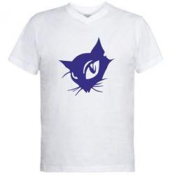Мужская футболка  с V-образным вырезом Кошечка - FatLine