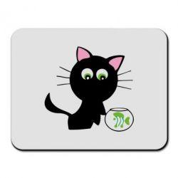 Коврик для мыши Кошичка и аквариум - FatLine