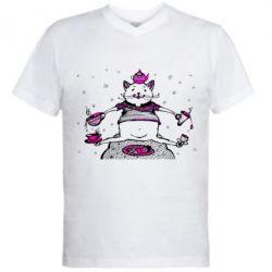 Купить Мужская футболка с V-образным вырезом Кот чайный бармен, FatLine