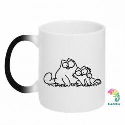 Кружка-хамелеон Кот и котенок