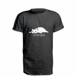 Удлиненная футболка Кот и надпись Не сегодня