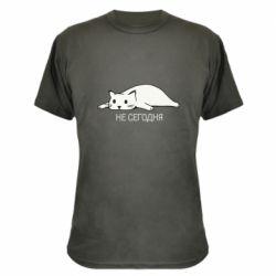 Камуфляжная футболка Кот и надпись Не сегодня