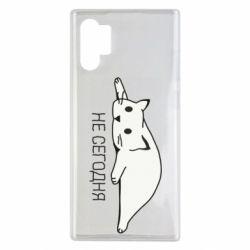Чехол для Samsung Note 10 Plus Кот и надпись Не сегодня