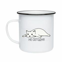 Кружка эмалированная Кот и надпись Не сегодня