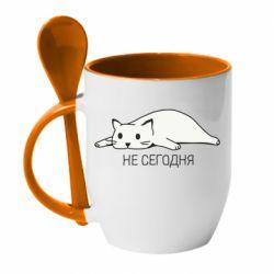 Кружка с керамической ложкой Кот и надпись Не сегодня