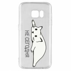 Чехол для Samsung S7 Кот и надпись Не сегодня