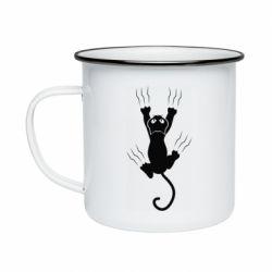 Кружка емальована кот когти
