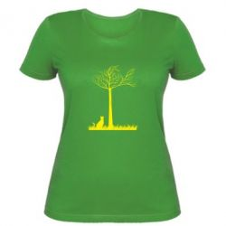 Женская футболка Кот прыгает на дерево, FatLine  - купить со скидкой