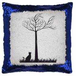 Подушка-хамелеон Кот прыгает на дерево