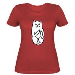 Женская футболка Кот с факом