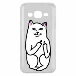 Чехол для Samsung J2 2015 Кот с факом