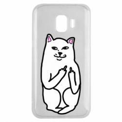 Чехол для Samsung J2 2018 Кот с факом