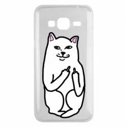 Чехол для Samsung J3 2016 Кот с факом