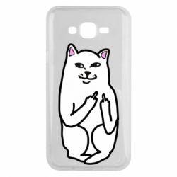 Чехол для Samsung J7 2015 Кот с факом