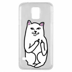 Чехол для Samsung S5 Кот с факом