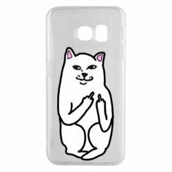 Чехол для Samsung S6 EDGE Кот с факом
