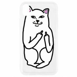 Чехол для iPhone XR Кот с факом