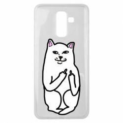 Чехол для Samsung J8 2018 Кот с факом