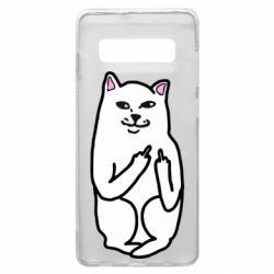 Чехол для Samsung S10+ Кот с факом
