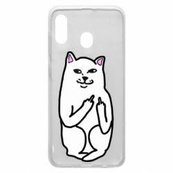 Чехол для Samsung A20 Кот с факом