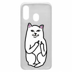 Чехол для Samsung A40 Кот с факом