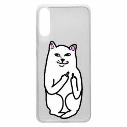 Чехол для Samsung A70 Кот с факом