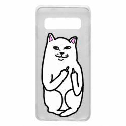 Чехол для Samsung S10 Кот с факом